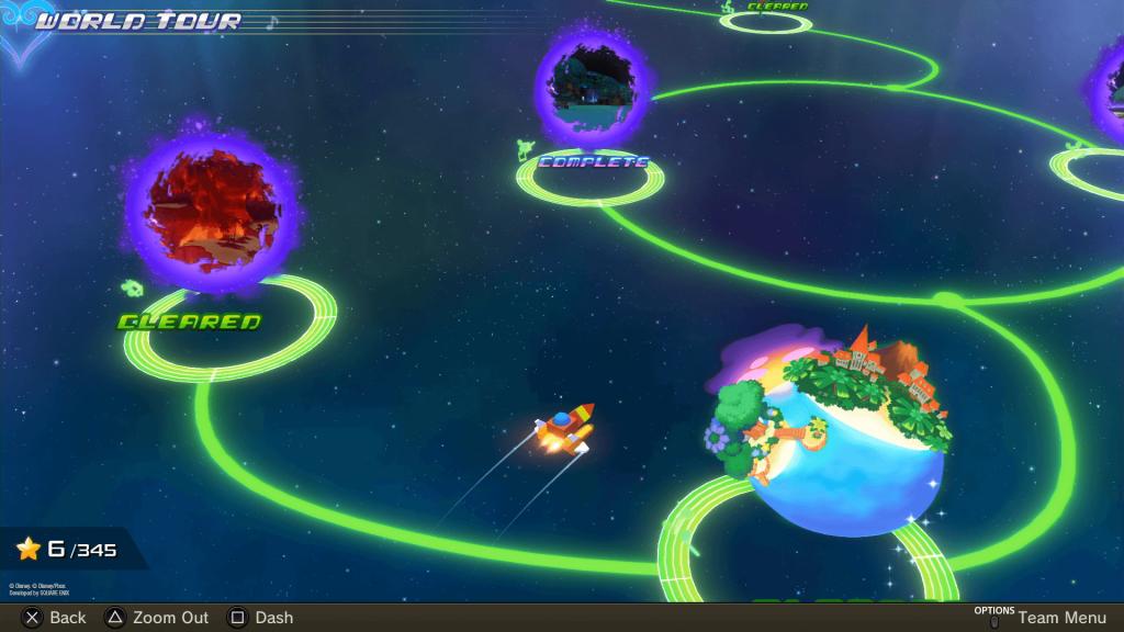Kingdom Hearts: Melody of Memory - mapa herních světů